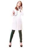 Медицинские Доктор женщины в пальто лаборатории с стетоскопом Стоковая Фотография