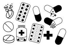 Медицинские знаки (таблетки, пилюльки, капсула) иллюстрация штока