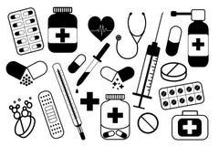 Медицинские значки аппаратур и аксессуаров здравоохранения плоские установили с иллюстрацией конспекта термометра иллюстрация вектора