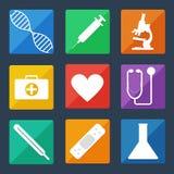 Медицинские значки плоское UI Стоковое Изображение