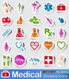 Медицинские значки стикеров Стоковое фото RF