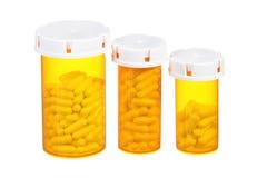 Медицинские изолированные бутылки пилюлек Стоковое Изображение