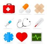 Медицинские установленные значки Стоковое фото RF