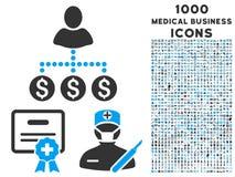 Медицинский значок дела с 1000 медицинскими значками дела Стоковые Изображения
