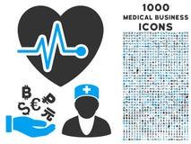 Медицинский значок дела с 1000 медицинскими значками дела Стоковое Изображение RF