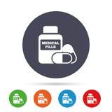 Медицинский значок знака бутылки пилюлек Дает наркотики символу Стоковое Изображение