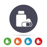 Медицинский значок знака бутылки пилюлек Дает наркотики символу Стоковые Изображения