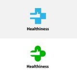 Медицинский значок креста & руки Дизайн логотипа вектора медицинского центра иллюстрация штока