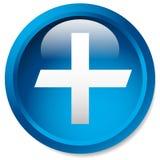 Медицинский, здравоохранение, скорая помощь плюс, перекрестный значок Лоснистый круг b Стоковая Фотография RF
