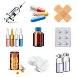Медицинский комплект вектора значков лекарств Бесплатная Иллюстрация