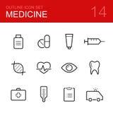 Медицинский комплект значка плана вектора Стоковая Фотография