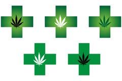 Медицинский крест фармации конопли Стоковые Изображения
