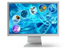 Медицинский настольный компьютер на экране ПК иллюстрация вектора