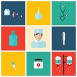 Медицинский плоский значок установил с доктором, дизайном вектора стоковые изображения