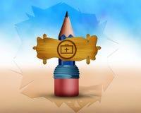 Медицинский символ набора на деревянной доске и доске место на большом pancil Стоковое Изображение RF