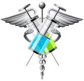 Медицинский символ с шприцами, крылами и змейками Стоковое фото RF