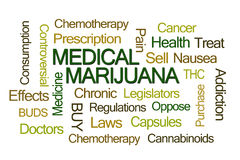 Медицинское облако слова марихуаны Стоковое Фото
