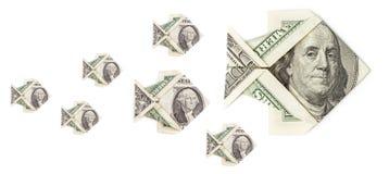 Мелководье изолированных рыб origami доллара Стоковое Изображение
