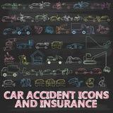 Мел крася о страховании автомобилей значка Стоковые Изображения