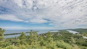 Медная гавань, парк пункта охотника, портеры остров, озеро Fanny Hooe, MI Стоковое Изображение RF