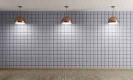 Медные лампы против renderi предпосылки 3d голубой стены внутреннего Стоковые Изображения RF