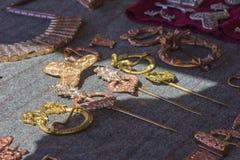 Медные этнические barrettes ювелирных изделий, пряжки, фибулы стоковые фотографии rf