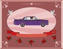 Медовый месяц на ретро автомобиле Стоковые Изображения RF