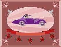 Медовый месяц на ретро автомобиле Стоковое Фото