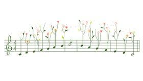 Мелодия с цветками - иллюстрация гаммы Стоковая Фотография RF