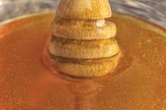 Мед пчелы с деревянным ковшом Стоковое фото RF