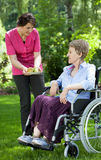Медсестра давая свежие фрукты к пожилой женщине Стоковое фото RF
