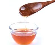 Мед с деревянной ложкой Стоковая Фотография