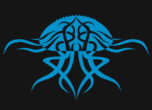 Медузы на черной предпосылке Животный силуэт стоковое изображение