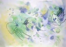 Медузы покрашенные в акварели и чернилах Стоковое фото RF