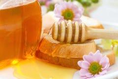 Мед цветка и хлеб пшеницы Стоковое Фото