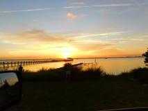 Мельбурн, Флорида, заход солнца в январе Стоковая Фотография RF