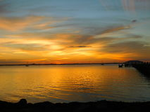 Мельбурн, Флорида, заход солнца в январе Стоковое Фото