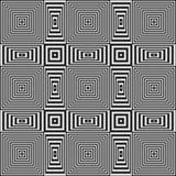 Мелькая геометрическая картина обмана зрения с черно-белыми нашивками Стоковые Изображения