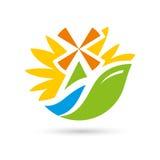 Мельница вектора на знаке солнцецвета реки Стоковые Фото