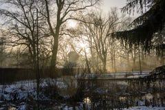 Мельница в зиме стоковые изображения rf
