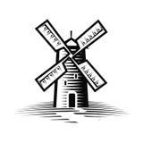 Мельница, логотип ветрянки или ярлык Мука, значок хлебопекарни также вектор иллюстрации притяжки corel бесплатная иллюстрация