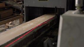 Мельница тимберса Взгляд древесины sawing с метками лазера видеоматериал