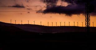 Мельницы ветра в заходе солнца Стоковое Изображение RF