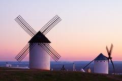 Мельницы ветра на Campo de Criptana Стоковая Фотография RF
