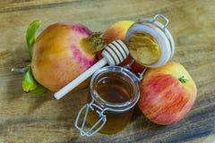 Мед, яблоки и гранатовые деревья на деревянной палубе для торжества Rosh Hashana Стоковое Фото