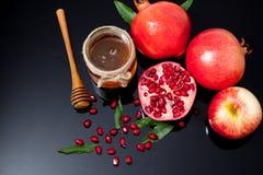 мед, яблоко и гранатовое дерево на традиционный праздник ha Стоковая Фотография