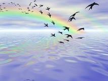 Миграция ласточек Стоковая Фотография