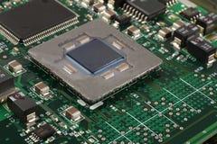 Крупный план микропроцессора компьютера Стоковое Фото