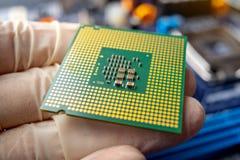 Микропроцессор обломока в руках техника инженера для компьютеров Высокая технология и микросхема ремонта стоковые изображения rf