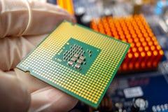 Микропроцессор обломока в руках техника инженера для компьютеров Высокая технология и микросхема ремонта стоковая фотография rf